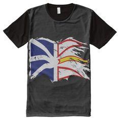 DISTRESSED WAVING NEWFOUNDLAND AND LABRADOR FLAG