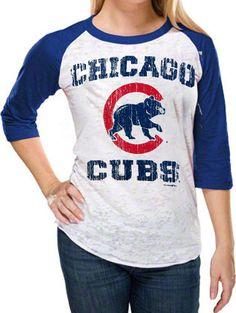 Chicago Cubs Women's Burnout 3/4 Sleeve White/Royal Raglan T-Shirt