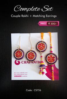 Crafantic Quill Complete Set: Awesome Purple + Pink + Yellow contrast.. Traditional Indian Balli with Rakhi and Bhabhi Rakhi (Lumba) Code: CS726 Price: ₹300/- #crafantic #rakhi #quilling #quillingrakhi #quillingart #traditional #ethnic #indian