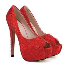 Ruby Red PeepToe Pumps