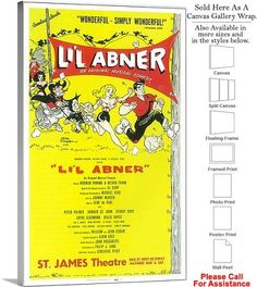 "Lil Abner 1956 Famous Broadway Musical Production Canvas Wrap 18"" x 30"""