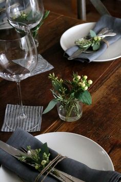 winter table with simple greens