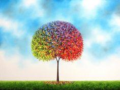 ideas for rainbow tree painting artworks Flocked Christmas Trees Decorated, Ribbon On Christmas Tree, Tree Silhouette Tattoo, Celtic Tree Of Life, Tree Carving, Unique Paintings, Tree Sculpture, Rainbow Art, Texture Art