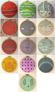 Cate Anevski Face Embroideries by j_q_adams, via Flickr