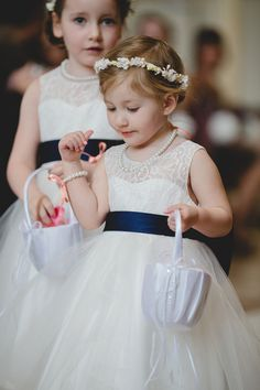Navy and white wedding - flower girl idea {ENV Photography}