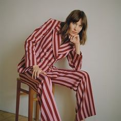 Alexa Chung's collection June 2017. Striped suit inspired by Brian Jones of the Rolling Stones.
