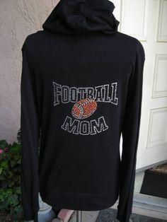 Crystal Football Mom Hoodie by glamourtees on Etsy, $29.00