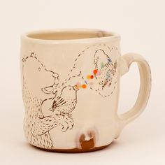 Bear and Birds and Bubble cup, 20 fl oz - Ayumi Horie Pottery LLC