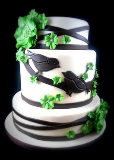 Black & White Wedding Cake with Green Flowers.. Except I'd like it to be Navy instead of black