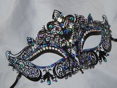 Peacock Laser Cut Masquerade Mask - with Teal, Turquoise, Blue and Purple Accents
