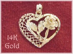 14K Gold ~ Diamond Cut Filigree Rose Open Heart Pendant - DZ Dazzlers Jewelry - Anniversary Valentines - The Perfect Gift - FREE SHIPPING by FindMeTreasures on Etsy