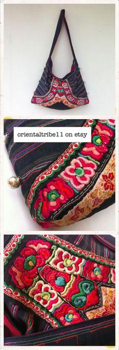 #ethnic #hmong #hemp #bag #sholder #embroidered #antique