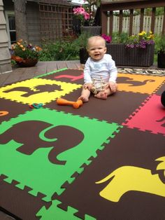 "Amazon.com - SoftTiles Safari Animals Foam Play Mat w/sloped borders (Black, Gray, White) Large Play Mat 78"" x 78"" Outdoor playroom on a Deck!"