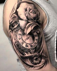 Jubilant black swallow tattoo pay less tats абстрактные тату, татуировки, и Bicep Tattoo, Chest Tattoo, Forearm Tattoos, Body Art Tattoos, Clock Tattoos, Rose Tattoos For Men, Half Sleeve Tattoos For Guys, Best Sleeve Tattoos, Clock And Rose Tattoo