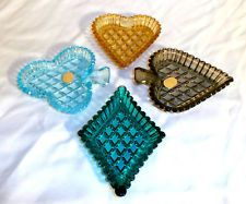 Set of 4 Colorful Vintage Bohemia Glass Ashtrays Playing Card Suits