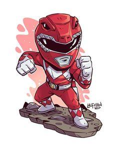 """4,523 curtidas, 7 comentários - Derek Laufman (@dereklaufman) no Instagram: """"Chibi Red Ranger. Power Ranger Prints go on Sale May 15th at www.dereklaufman.com (link in my…"""""""