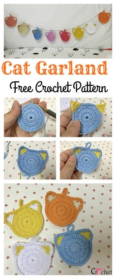 Cute Crocheted Colorful Cat Garland Free Pattern