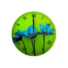 Teal Turquoise Daisies on Lime Green Flowers Gifts Wall Clocks #SOLD on #Zazzle