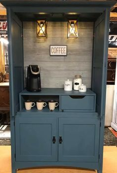 Funky Furniture, Refurbished Furniture, Repurposed Furniture, Furniture Projects, Furniture Makeover, Home Projects, Coffee Room, Coffee Bar Home, Armoire Bar