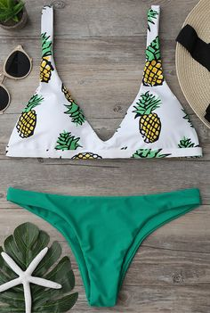High Cut Pineapple Bikini Set