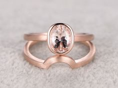1.1 Carat Oval Morganite Wedding Set 14k Rose Gold Solitaire Brial Ring Brush Face Curved Matching Band
