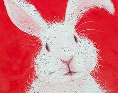 Rabbit painting Easter bunny art Etsy Art animal by JanMatsonArt Bunny Painting, Spring Painting, Spring Art, Painting For Kids, Art For Kids, Easter Paintings, Nursery Paintings, Animal Paintings, Nursery Art