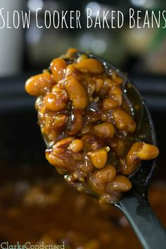 Slow cooker baked beans recipe #ClarksCondensed