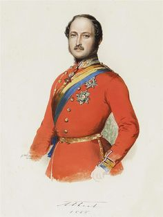 2nd son of Ernest I (1784-1844) Duke of Saxe-Coburg & Gotha & wife Louise (1800-1831) of Saxe-Gotha-Altenburg & husband of Queen Victoria (1819-1901). Prince Albert (1819-1861) of Saxe Coburg & Gotha by Franz Xaver Winterhalter in 1855. He encouraged in his wife a greater interest in social welfare including the matter of child labour. His position was a difficult one because he was viewed as German although he exercised his influence with tact and intelligence.