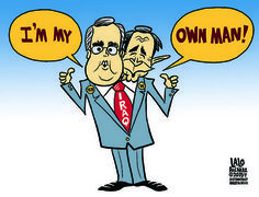 Cartoon: I'm my own man! Terrible Presidential candidate Jeb Bush has had a very hard time distancing himself from his brother George Jr., the worst President in US history. Okay, maybe he is showing some of them Republican Family Values they're always going on about, but man, Jebby can't seem to get the stink of the Iraq War, (a war which is unpopular with 66% of the public) because he won't deny his dumb bro. Who's the dumb bro now?