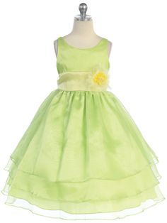Organza lime green dress, perfect for your spring wedding.  #justuniqueboutique #flowergirldress