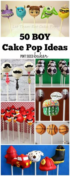 Your little man is gonna love this collection of 50 Cake Pops for Boys. Plan some for his next party!
