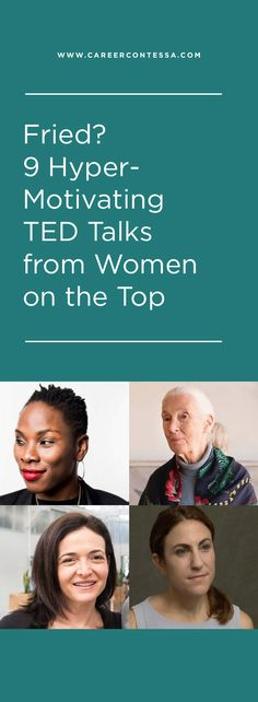 9 Hyper-Motivating TED Talks from Women on the Top It's time for a pep talk, ladies. Take a few minutes to pause and absorb empowering stories from some of the best lady pioneers of our generation. Career Success, Career Advice, Career Ideas, Career Quotes, Success Story, Career Change, Life Quotes, Career Development, Personal Development