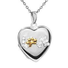 ASPCA TenderVoices Two-Tone Diamond Love Paw Locket 1/15ctw - Item P128720O-SSYYSW6 | REEDS Jewelers