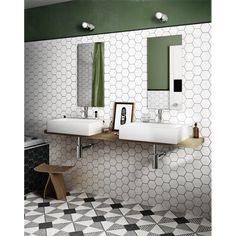 Industrial Tile, Traditional Tile, Deco Originale, Hexagon Tiles, Room Shelves, Best Bath, Ceramic Wall Tiles, Modern Spaces, Decoration