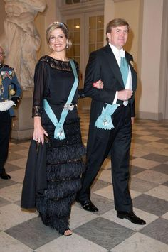 Queen Maxima looked stunning in a black fringe gown. Click to find out what other royals looked gorgeous at this formal affair.