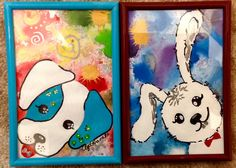 Kinder#Bilder#Acryl#Hund#Hase#dog#rabbit