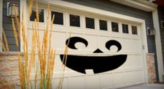 For a truly different take on halloween decorations try decorating the garage door. The face is none other than that of jack skellington pumpkin king. Black vinyl or construction paper can easily transform your garage door into the face of . Garage Door Halloween Decor, Halloween Yard Props, Garage Door Decor, Halloween Door Decorations, Halloween Home Decor, Outdoor Halloween, Holidays Halloween, Spooky Halloween, Halloween Crafts
