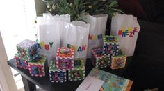 Twins 1st birthday ABC/123 block theme.   Goodie bags
