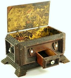 Antique Tramp Carved Box with Drawer.