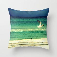 Seagull Pillow  Ocean Photography  Decorative Throw by ModernBeach, $38.00