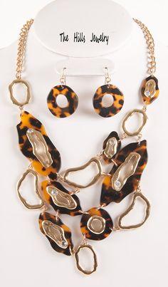 Chunky Gold Tone Tortoise Shell Design Swarovski Elements Crystals Bib Statement Necklace Set. $24.99, via Etsy.
