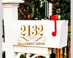 One Mailbox Decal custom address sticker with by HouseHoldWords