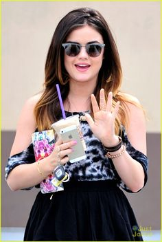 Lucy Hale Wears Lucky Elephant Necklace For Coffee Pick Up | lucy hale lucky elephant necklace starbucks 01 - Photo Gallery | Just Jared Jr.