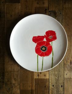 Red Poppies round ceramic serving by jessicahoward on Etsy, $120.00