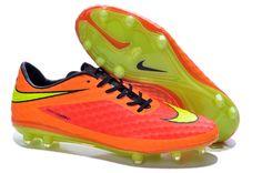 new style 49de0 3156f 2014 Brazil Coupe du monde Chaussures de foot nike Hypervenom Phantom FG  Orange Rouge pas cher