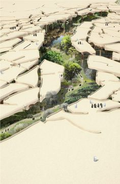 "I can imagine this park in Abu Dhabi or Al Ain maybe. Heatherwick Tapped to Design ""Sunken Oasis"" in Abu Dhabi Landscape Model, Landscape Architecture Design, Architecture Drawings, Futuristic Architecture, Fantasy Landscape, Urban Landscape, Desert Landscape, Architecture Jobs, Enterprise Architecture"