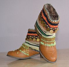ETHNIC, HIPPIE, BOHO, Moroccan boots, Tribal, Gypsy, Women, Multicolor Boots, Bohemian Boots, Made to order in your size with some variation...