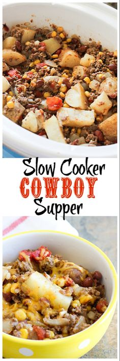 Slow Cooker Cowboy Supper The latest recipes and sweet suggestions. Crockpot Dishes, Crock Pot Slow Cooker, Crock Pot Cooking, Slow Cooker Recipes, Cooking Recipes, Crockpot Meals, Dinner Crockpot, Beef Dishes, Pasta Dishes