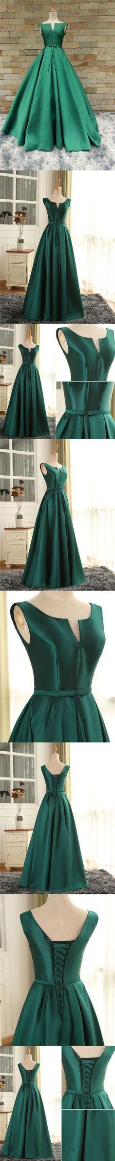 Cheap Prom Dresses Sexy Scoop Dark Green Satin Long Prom Dress/Evening Dress JKL259#hunter #Huntergreen #longdress #longpromdresses #longpromdress #promdress #promdresses #Off-the-shoulder #off the shoulder dress  #bowknot