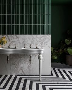 The lines of the tiles offset against the floor patterns and vivid colours really stand this image apart a stunning. Classic Bathroom, Modern Bathroom, Mandarin Stone, Vanity Basin, Large Format Tile, Black And White Marble, Floor Patterns, Bathroom Interior Design, Bathroom Inspiration